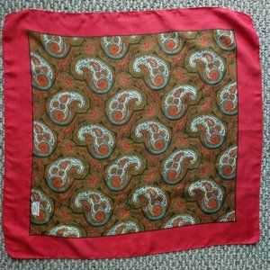 """Liberty London Red Gold Paisley Silk Scarf 23"""""""